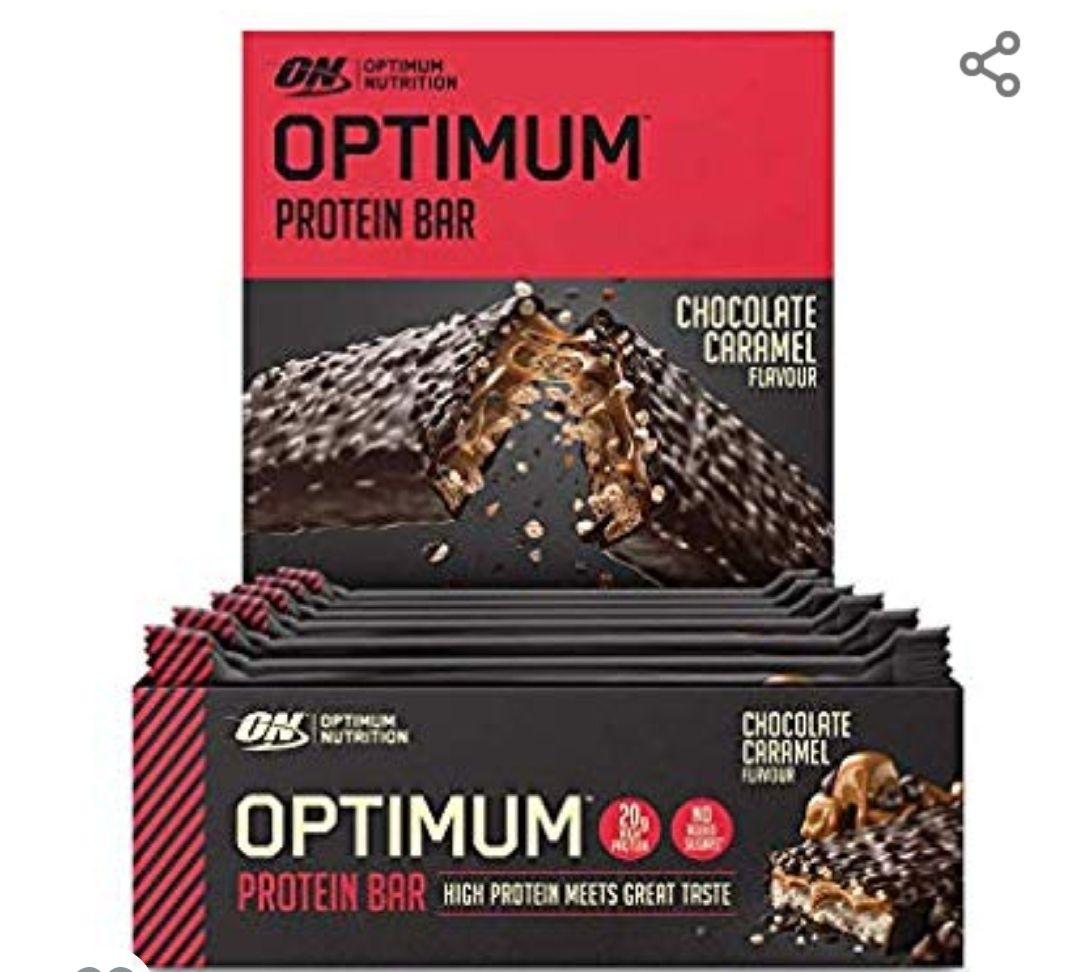Optimum Nutrition ON Protein Bar Barritas Proteínas, Chocolate y Caramelo, 10 Barras