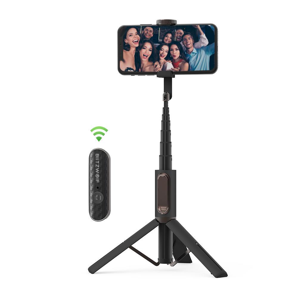 Trípode palo Selfie BlitzWolf® BW-BS10 con control remoto y plegable + regalito