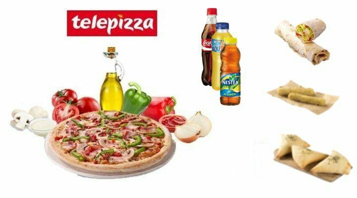 Telepizza Pizza mediana + enrollado + bebida + panes de ajo + fingers de queso sólo 9,90€