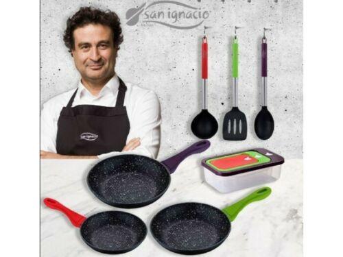 Set 3 sartenes San Ignacio 22, 24 y 26 cm + set 3 herméticos + Set utensilios