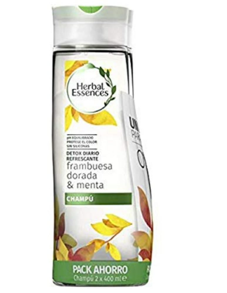 Herbal Essences Champú Detox Diario Refrescante Frambuesa Dorada & Menta - 2 unidades x 400 ml