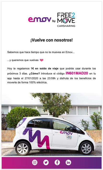 1€ gratis para emov (carsharing Madrid) para cuentas nuevas y antiguas.