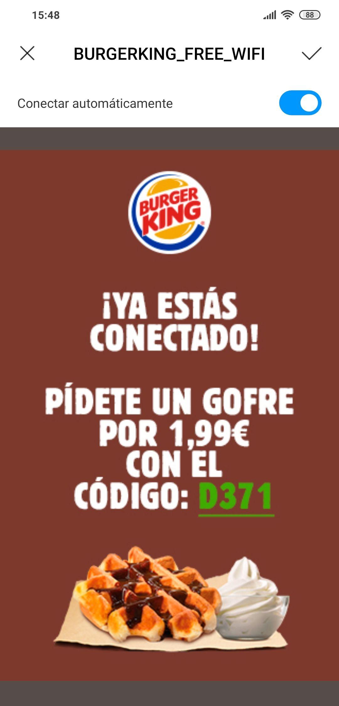 Gofre en Burger King por 2€