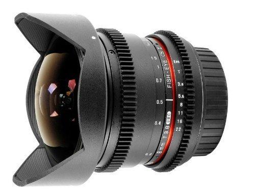 MÍNIMO HISTÓRICO - Samyang 8 mm T3.8 - Objetivo ojo de pez para Canon EOS V-DSLR, negro