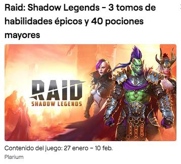 Raid: Shadow Legends - 3 tomos de habilidades épicos y 40 pociones mayores Amazon Prime