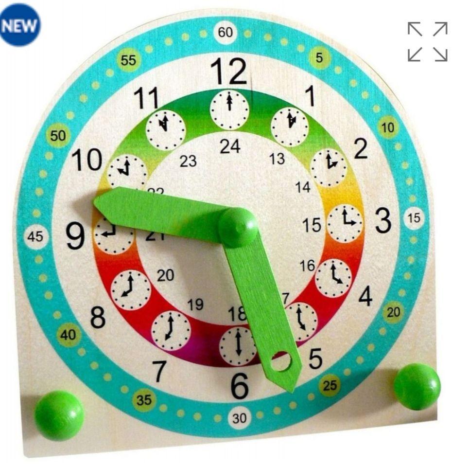 Reloj de aprendizaje infantil de madera.