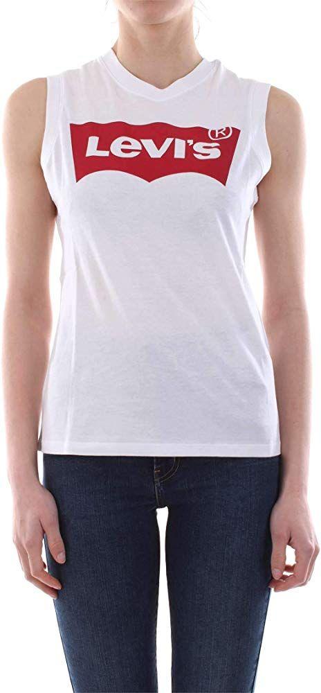 Levi's On Tour Camiseta Deportiva de Tirantes, Blanco (Red Hsmk Tank White 0022), Large para Mujer