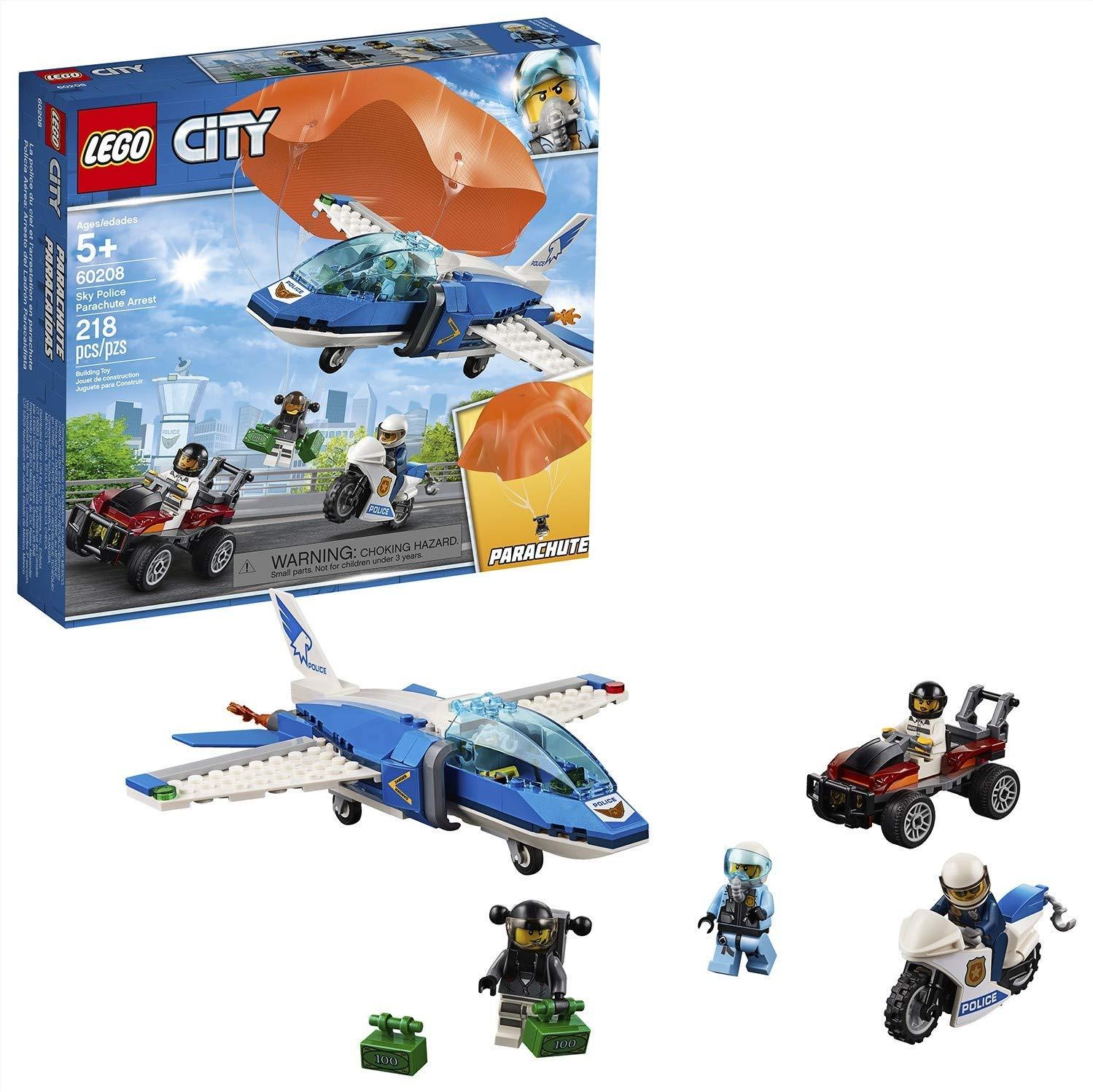 LEGO City - Police Policía Aérea: Arresto del Ladrón Paracaidista, Set de Aventuras para Construcción con Paracaídas, Avión y Moto