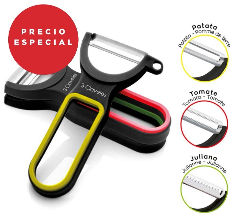 3 CLAVELES - Set de 3 peladores con diferentes cuchillas( liso - dentado y juliana ) con cuchillas de acero inoxidable.