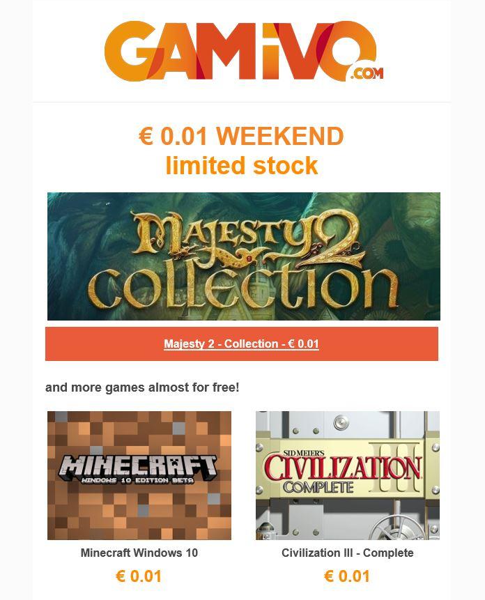 GAMIVO - Civilization III, Majesty 2 y Minecraft Windows 10 Edition casi gratis