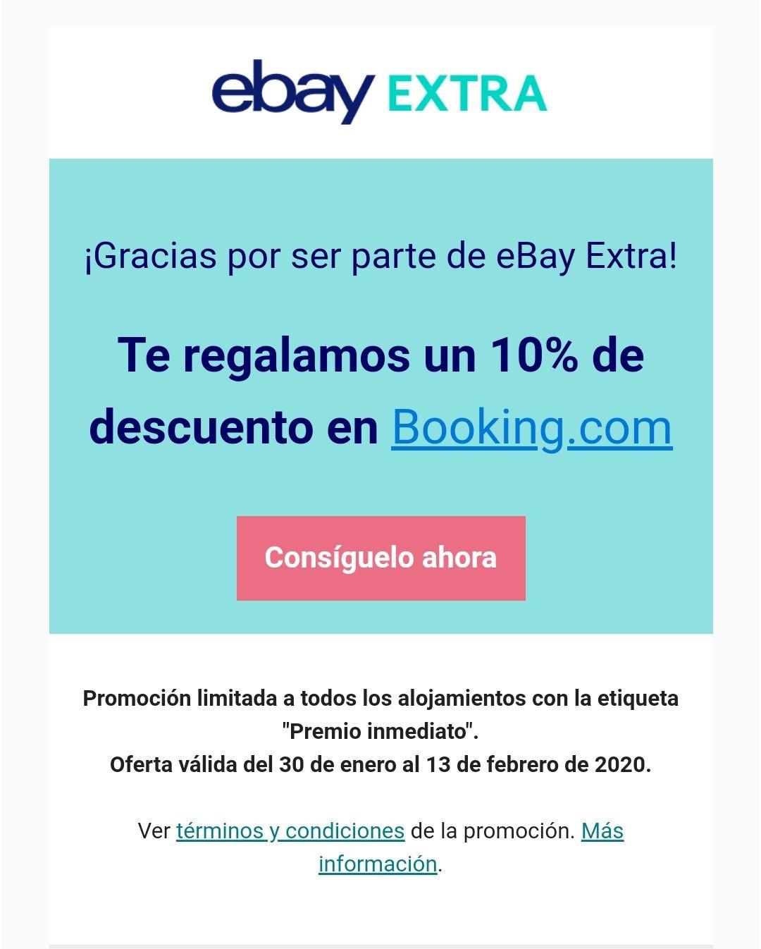 10% en hoteles seleccionados en Booking con eBay extra