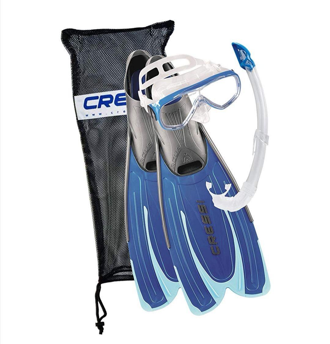 """Cressi Agua Set Blue Conjunto de Snorkeling con Tuba, Máscara y Aletas Talla 39 - 40 Reaco """"Como nuevo"""""""