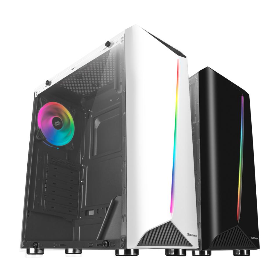 (REACO) Semitorre Mars Gaming MCX, Caja de PC ATX, Cristal Templado, Ventilador RGB DUAL RING, Blanco