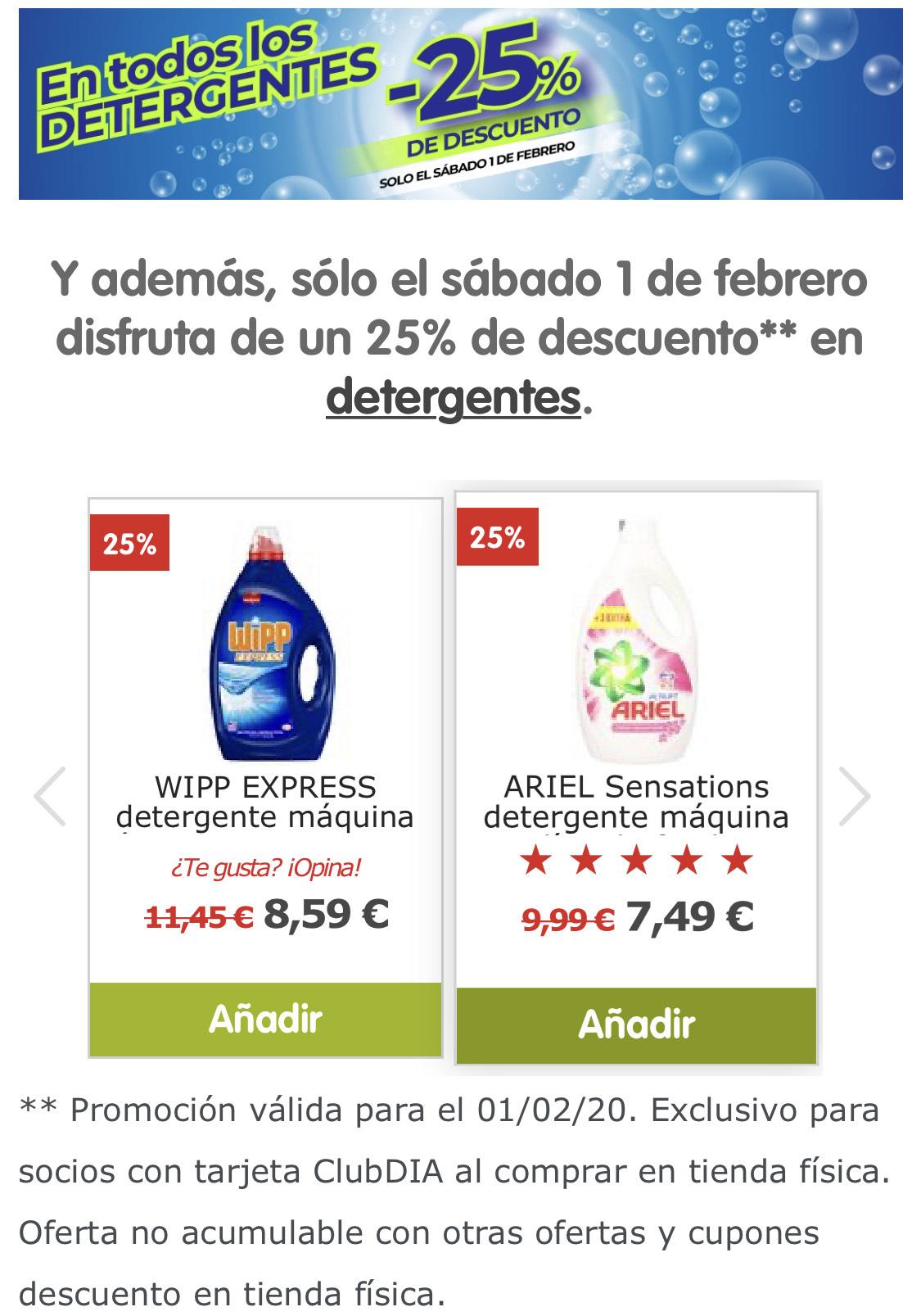 25% de Descuento en Detergentes para Socios Club DIA%
