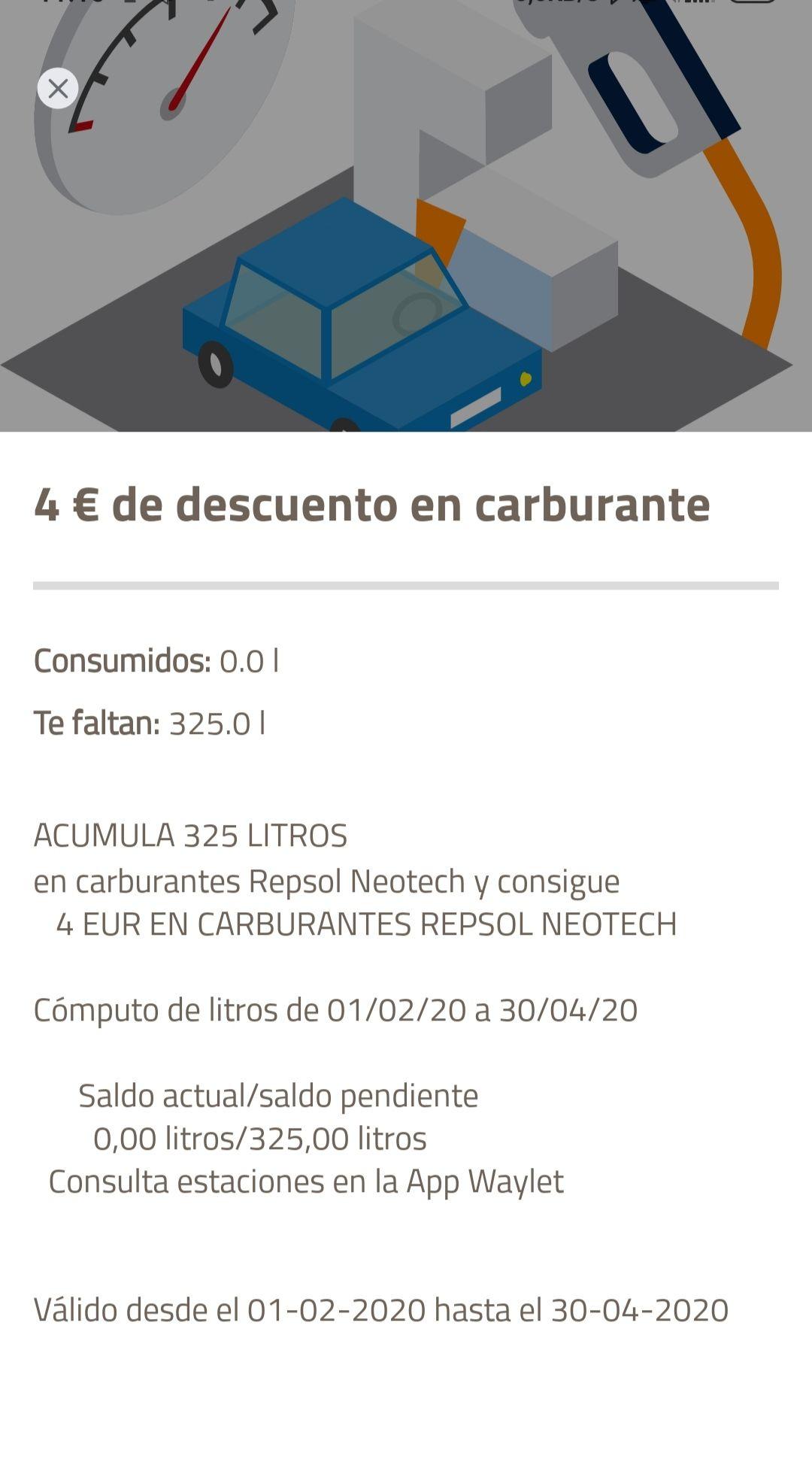 4€ de descuento para repsol acumulando 325 litros en gasolineras repsol