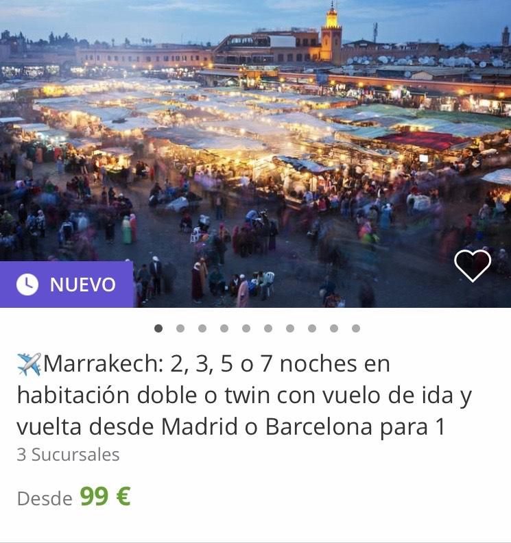 Marrakech: 2, 3, 5 o 7 noches en habitación doble o twin con vuelo de oida y vuelta desde Madrid o Barcelona para 1