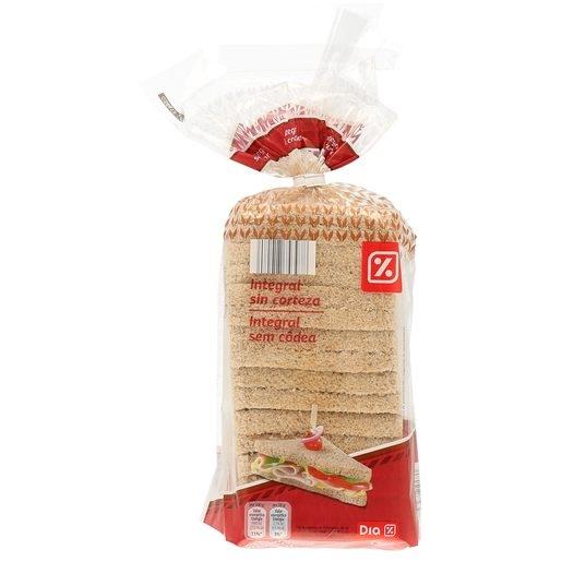 Pan de molde integral sin corteza bolsa 450 gr DIA