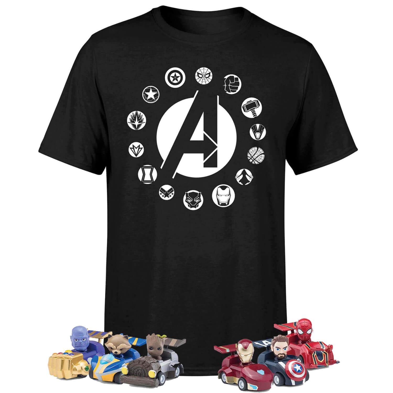 Pack Marvel Vengadores: Camiseta + 6 Coches Pullback + 6 Bolis