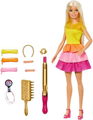 Barbie - Crea sus Ondas, Muñeca Rubia con Accesorios para Peinar (Mattel GBK24)