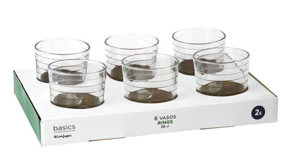 Set de 6 vasos de agua.(0.33€ unidad)
