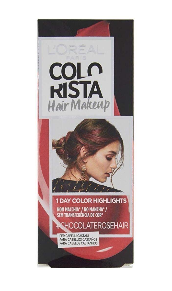 L'Oreal Paris Colorista Hair Make Up Chocolate Rose y también color Hair Makeup Raspberry Hair.