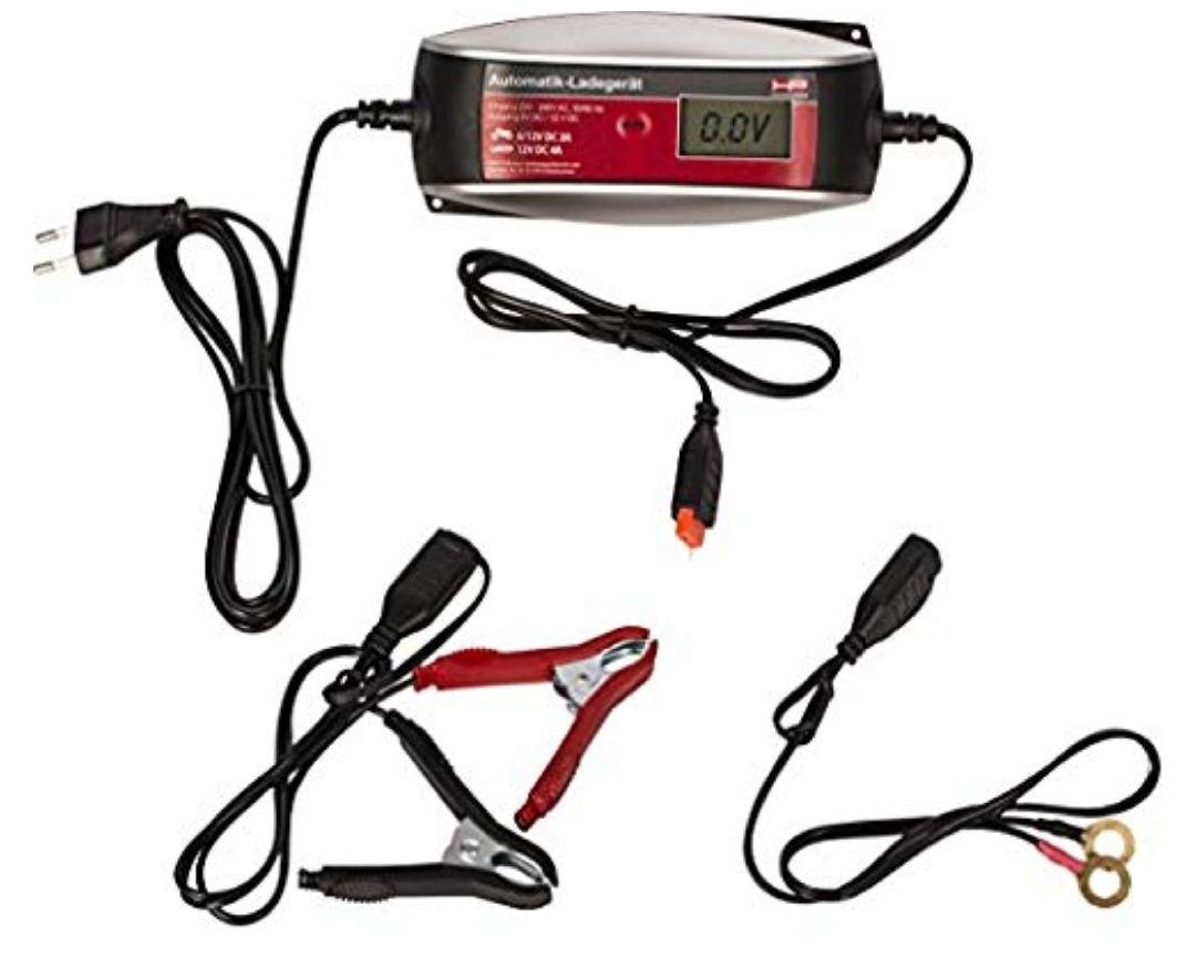 HP Autozubehör 20513 Cargador de batería para vehículos (6/12 V, 4 A, LCD, Rojo, 235 mm, 185 mm)