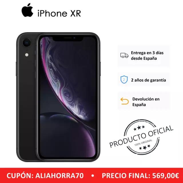 """iPhone XR (64 GB de ROM, 3 GB de RAM, Color Negro, Cámara trasera de 12 MP, Cámara Selfie de 7 MP, Pantalla de 6,1"""" Nuevo Versión Española]"""