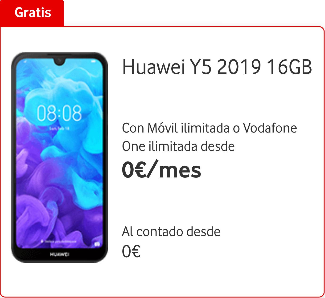 Huawei Y5 2019 16GB Con Móvil ilimitada o Vodafone One ilimitada