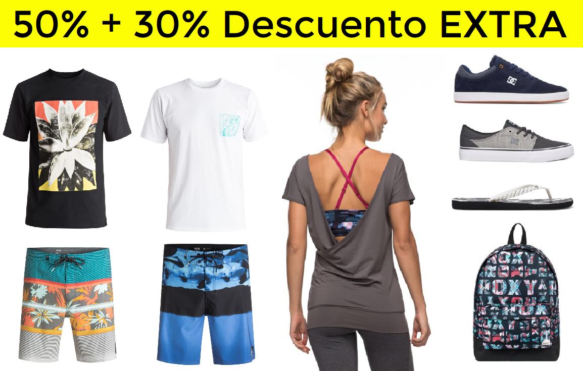 50% + 30% EXTRA Quiksilver, Roxy y DC