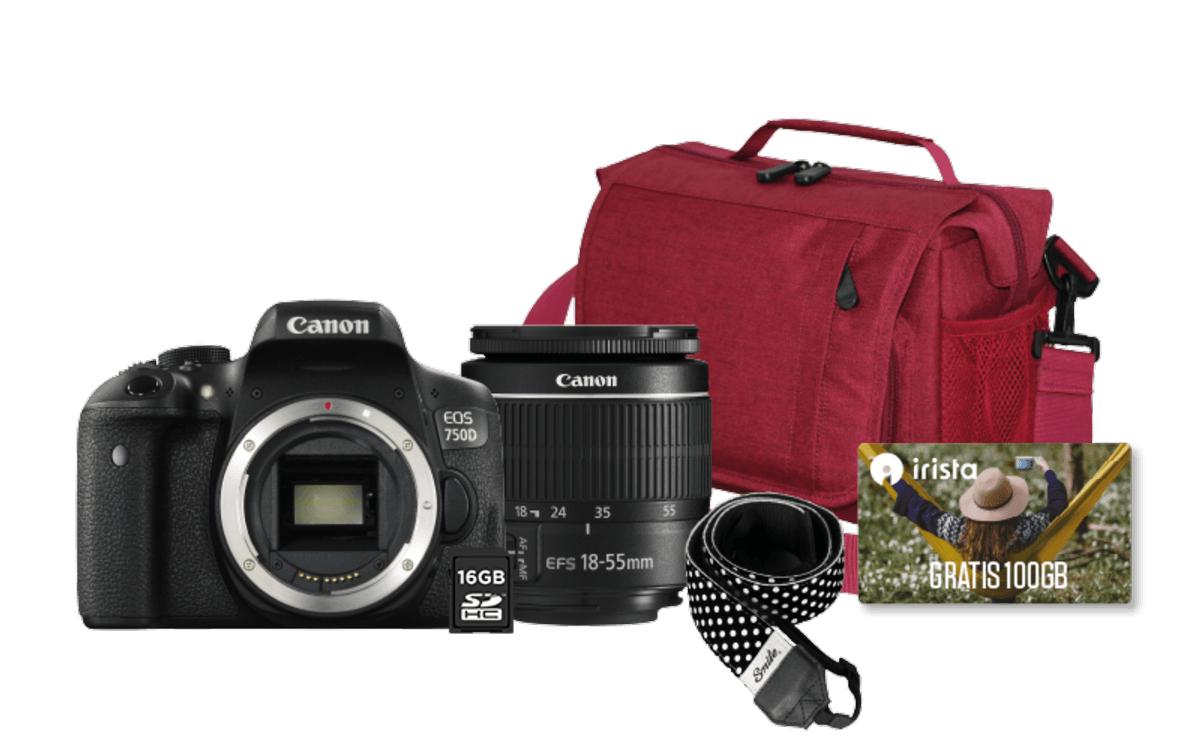 Cámara Réflex - Canon EOS 750D, 24,2 Megapíxeles + Objetivo 18-55 mm DC, Correa y funda incluidas