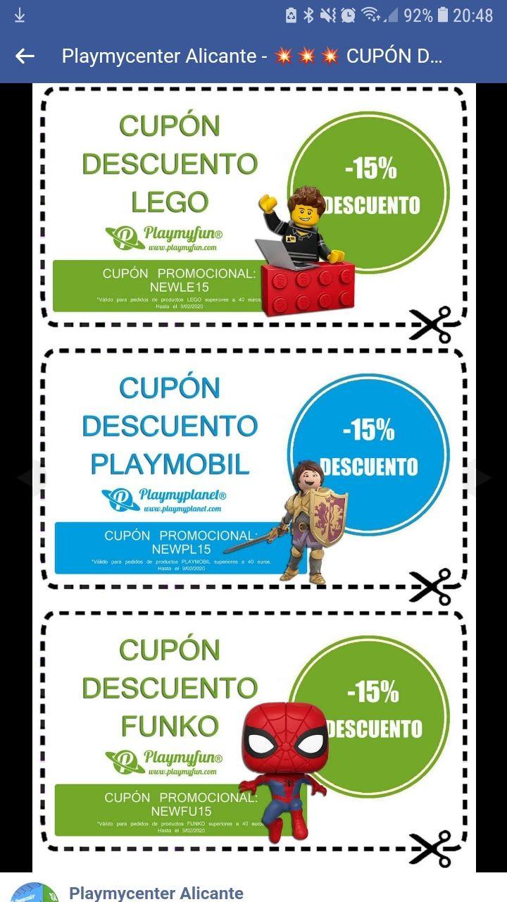 Cupones descuento -15% Lego, Funko y Playmobil
