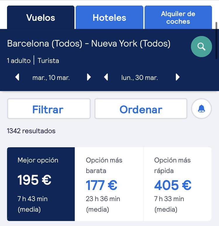 Desde 156€ VUELOS DE BARCELONA A NEW YORK(Skyscanner)