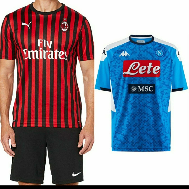 Camiseta de fútbol AC Milan y Napoles talla M