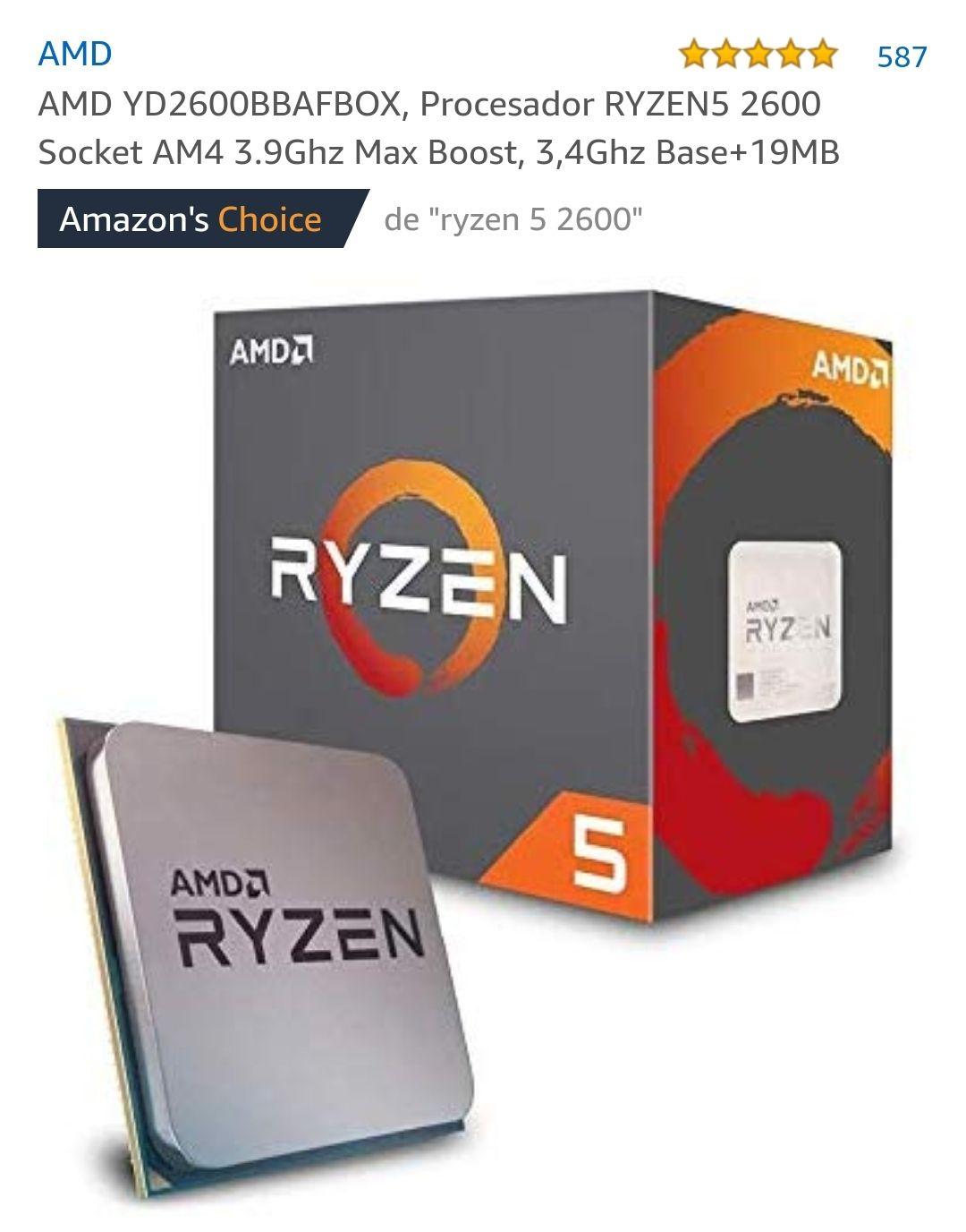 Procesador RYZEN5 2600 Socket AM4 3.9Ghz Max Boost, 3,4Ghz Base+19MB