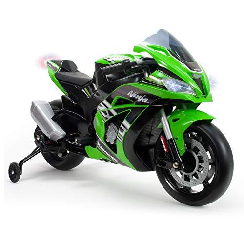 INJUSA- Moto ZX10 Ninja Kawasaki de 12 V, licenciada con luces y sonidos, recomendada a partir de los 3 años, Color verde