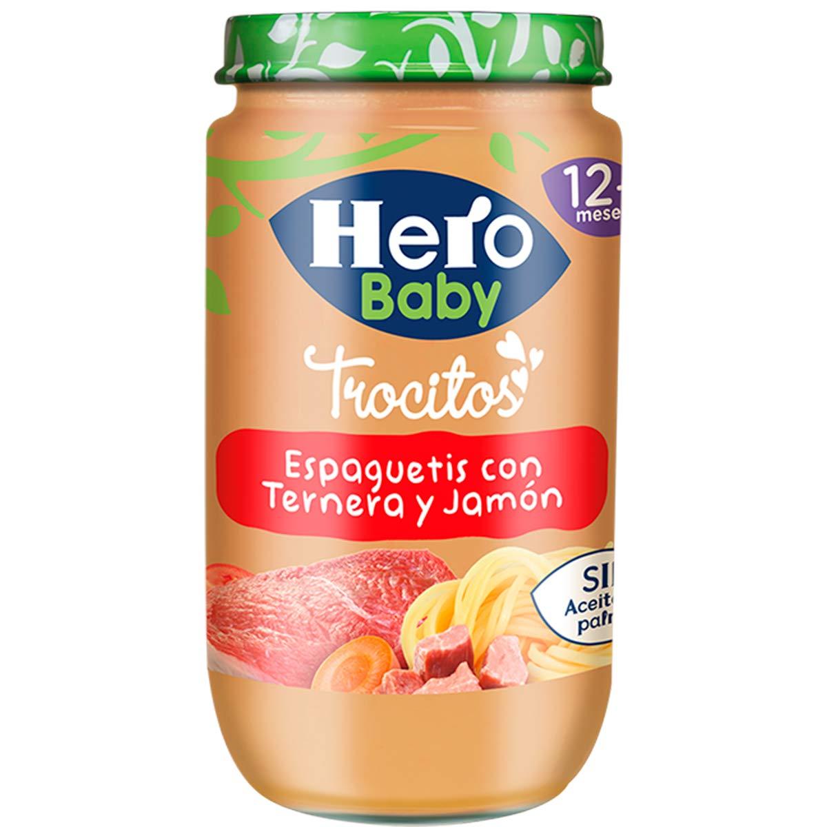 Pack 12 Hero Baby Trocitos Tarrito de Puré de Espaguetis con Ternera y Jamón