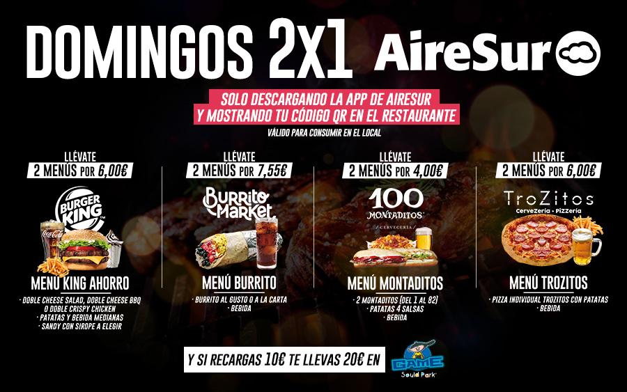 Domingos 2x1 en restaurantes AireSur (Sevilla)