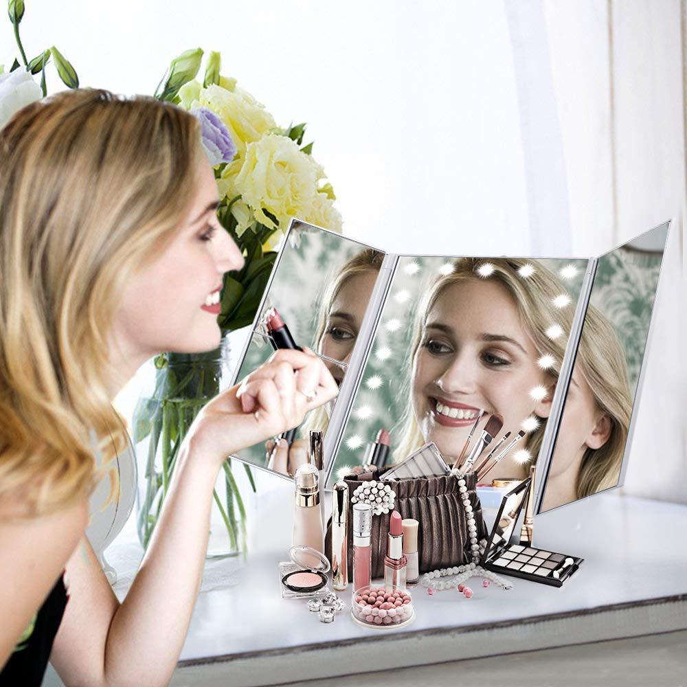 Espejo Maquillaje con Luz LED Ajustable y Táctil, Tríptico, Aumentos 1X, 2X, 3X, 10X