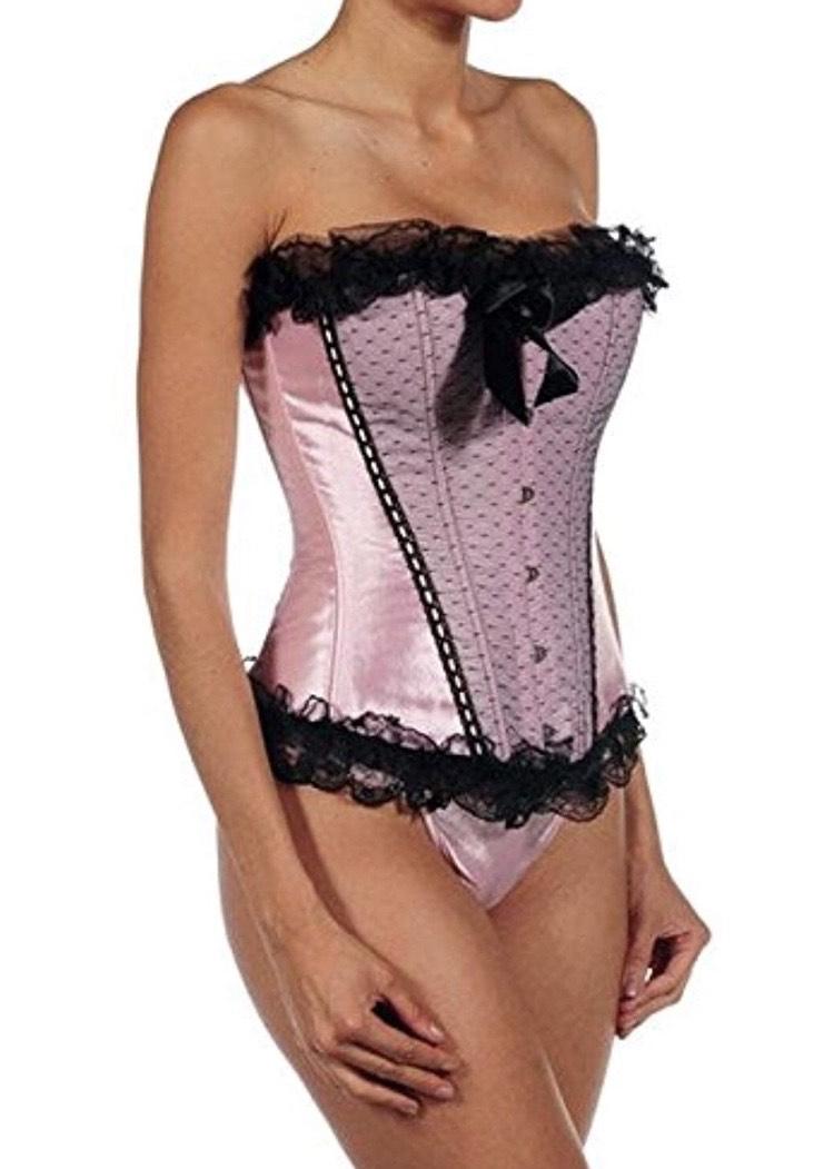 Conjunto de corsé de raso en rosa y encaje negro