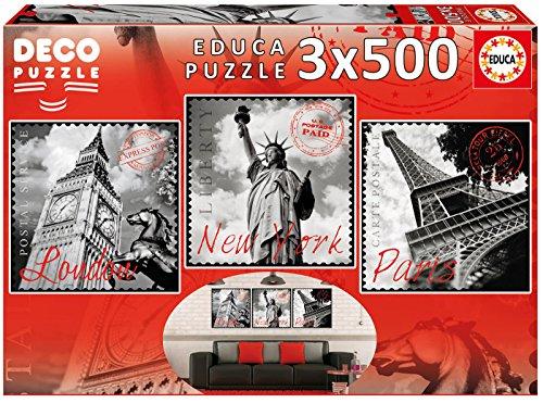3 puzzles de 500 piezas, ciudades(5 euros la unidad)