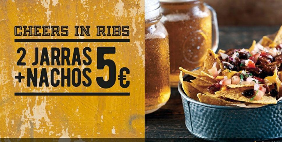 2 jarras de cerveza + Nachos = 5 euros