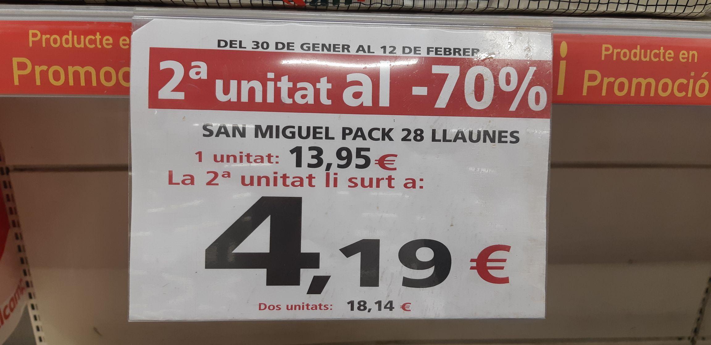 Lata 33cl cerveza San Miguel a 0.32€ (Alcampo Sant Boi)