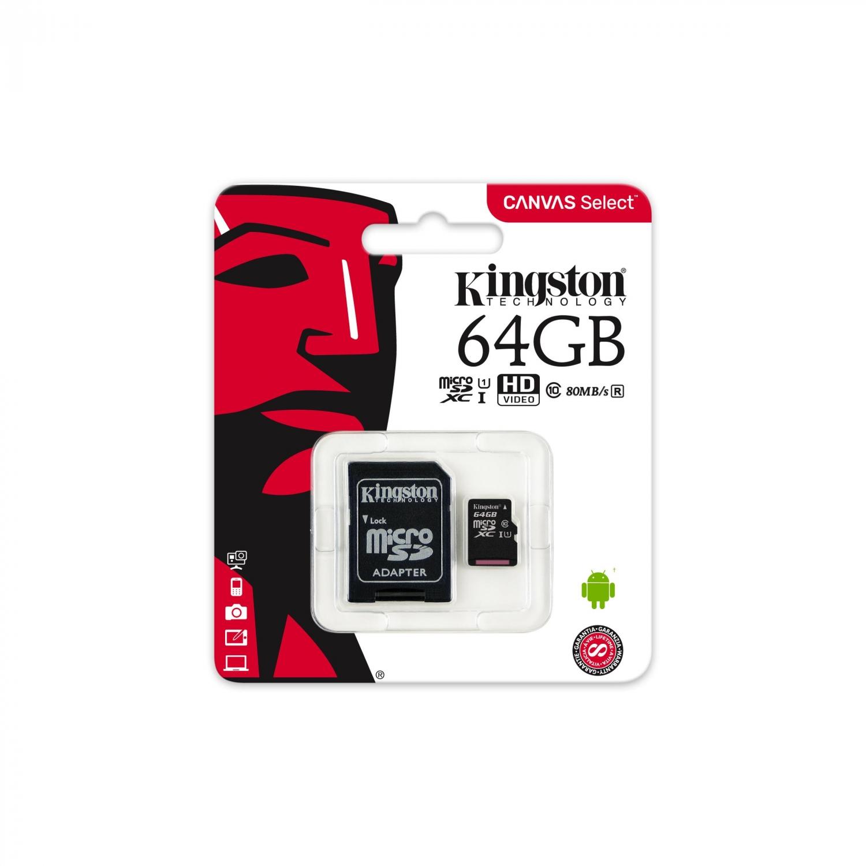 Memoria Kingston Micro SD 64GB con Adaptador