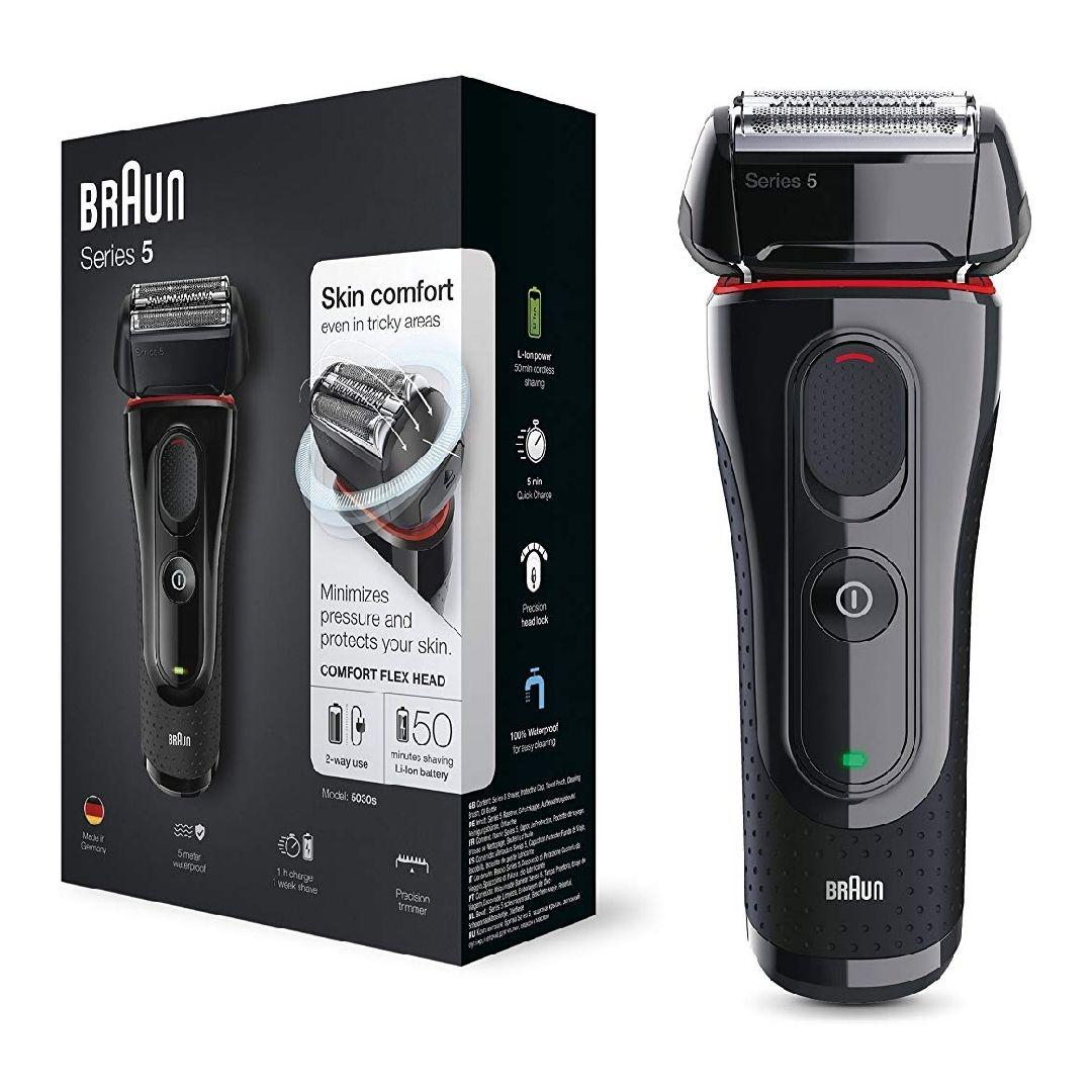 Braun Series 5 5030 s Afeitadora Eléctrica Hombre, Afeitadora Barba, Recortador de Precisión Extraíble, Recargable e Inalámbrica, Negro/Rojo