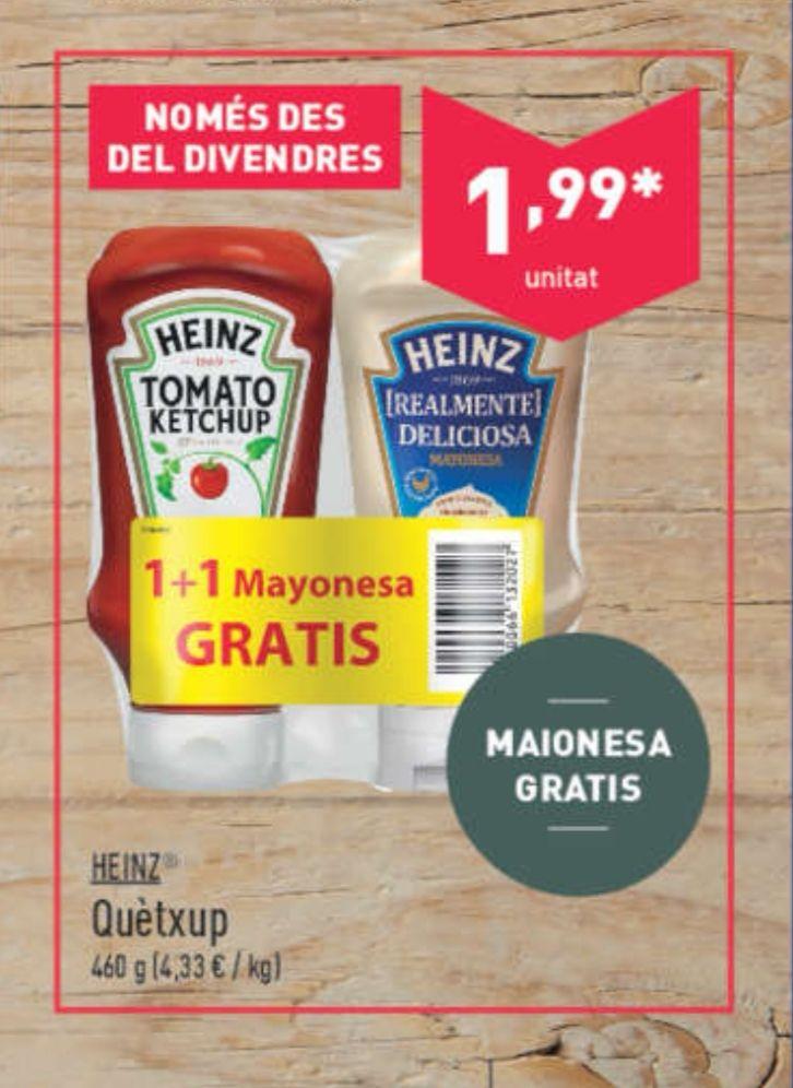 HEINZ TOMATE KETCHUP + HEINZ MAYONESA GRATIS POR 1.99 €.