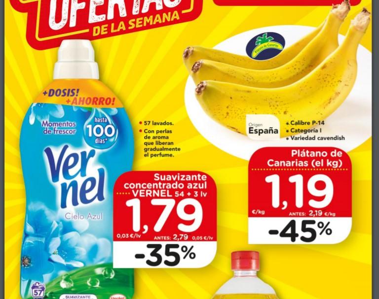 Plátano de Canarias a 1,19€/kg, Bebida de soja a 0,51€, Vernel a 1,79€ y resto de ofertas de la semana