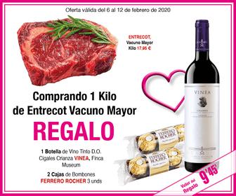 Supermercado masymas 1 kg Entrecot + botella de vino + 2 cajas de bombones