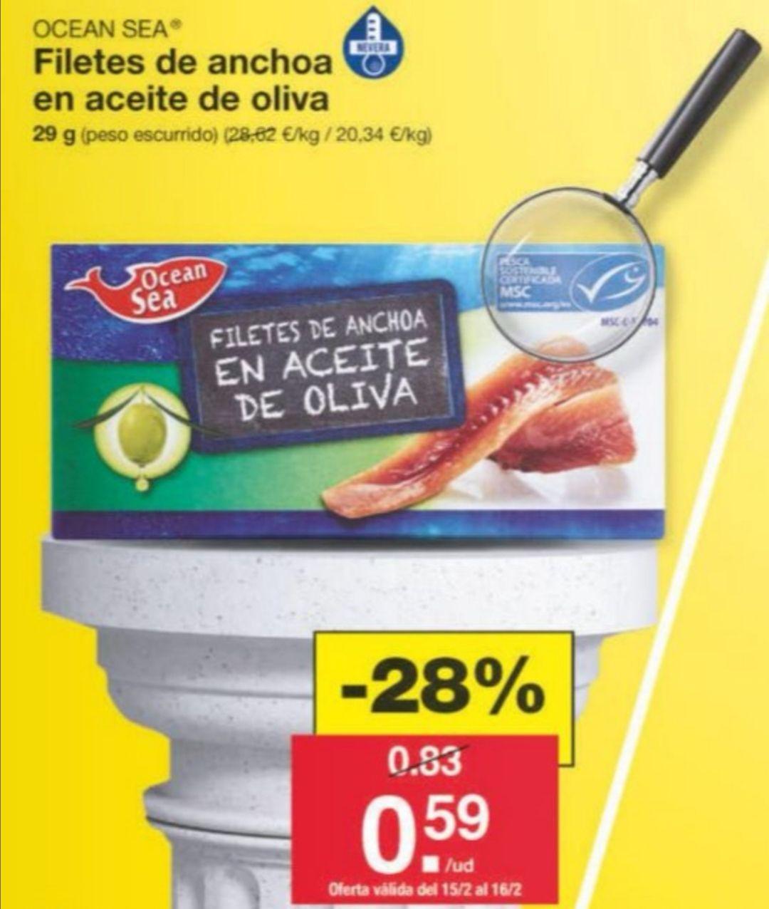 Filetes de anchoas en aceite de oliva 0.58 €. LIDL