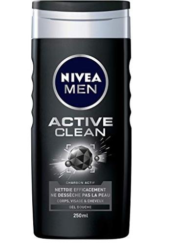 3 unidades NIVEA MEN - Gel de Ducha Active Clean 250 ml, edición Limitada