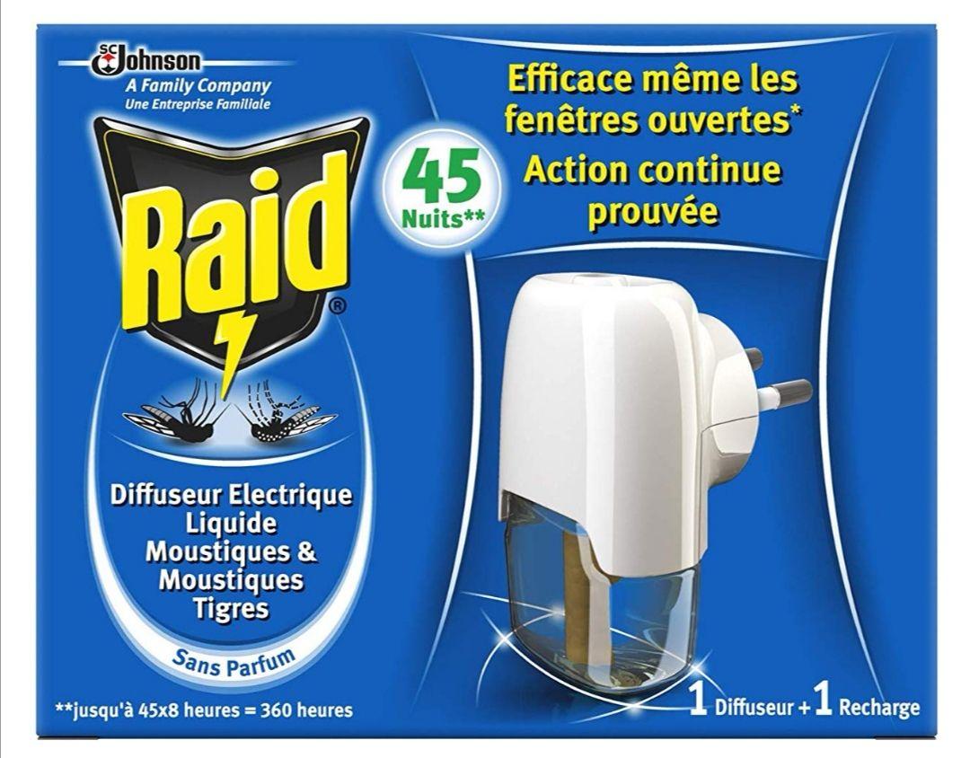 Raid Difusor eléctrico líquido antimosquitos 45 Noches 27 ml – Lote de 3 (Envio 1 a 3 meses)
